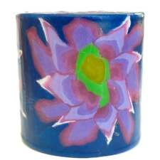 Purple Flower Pillar Candle - Swazi Candles - Handmade in Swaziland - Fair Trade