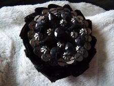 LOVELY BLACK PLEATED VELVET SILVER SEQUIN LARGE BEAD FLOWER BROOCH MD102