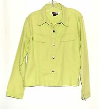 Live A Little Lime Green 100% Cotton Denim Trucker Style Womens Jacket Size L