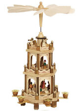 "German Christmas Pyramid Nativity Play 3 Tier Carousel 18""with 6 Candle Holders"