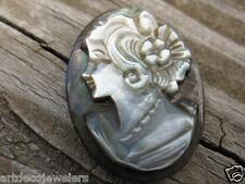 Vintage ART DECO CARVED MOTHER OF PEARL & ABALONE LOOSE CAMEO finding LEFT