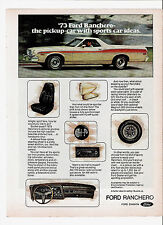 1972 Print Ad for 1973 Ford Ranchero The Pickup Car with Sports Car Ideas