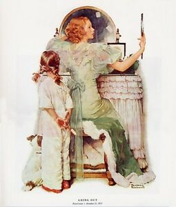 Norman Rockwell Young Woman and Girl Print GOING OUT