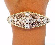 "Edwardian Platinum Diamond Yellow Gold Filigree Vintage Artful Bracelet 6.5"""