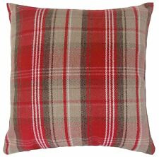 """FILLED STIRLING TARTAN CHECK EVANS LICHFIELD RED CHOCOLATE WOOL LOOK CUSHION 17"""""""