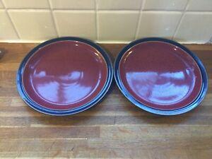 DENBY HARLEQUIN Dessert/Salad Plates X2.Blue/Red.