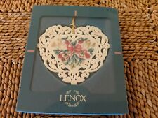 Lenox Porcelain Heart Ornament Doves Roses Holly - Excellent - In Original Box