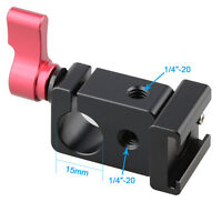 CAMVATE Cold Shoe Adapter 15mm Rod Clamp Kit for DSLR Camera Rig Light Monitor