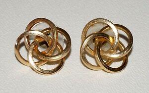Pair Vintage 14k Yellow Gold 4x Ring in Ring Motif Pierced Ear Earrings (NoN) E2