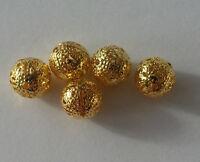 Bigiotteria 20 Perle Metalliche Lega 10 MM Colore Oro Perlina per Collana A1