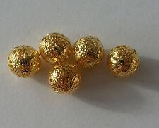 bisutería 10 Perlas De Metal Aleación 10mm Color Dorado Cadena A1 bola