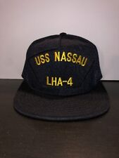 12fc352d36d Vintage USS Nassau LHA-4 Cap Hat Navy Ship USN Patch Snap Back Ball Cap