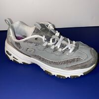 Skechers D Lites Womens Grey Walking Casual Shoes Ladies Size 8.5 Excellent