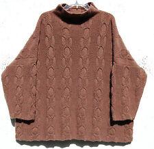 Eskandar rustikal grau Heavy Weight Kaschmir Kette & Loop Kabel Pullover O/S $2890