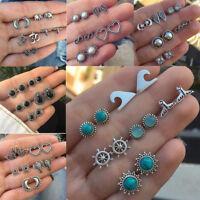 5/6/9/11 Pairs Earrings Sets Women BOHO Vintage Crystal Stone Ear Studs Earrings