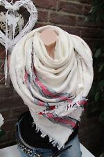 XXL écharpe rayé franges Plaid à carreaux étole Poncho crème-gris