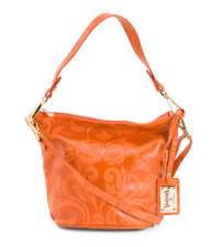VALENTINA Orange Genuine Leather Crossbody Handbag Made In Italy MSRP $199.99