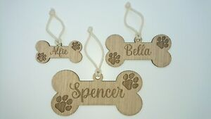 Personalised Wooden Dog Name Bone Shaped Sign, Hanging Plaque, Dog Bed/Cage Gift