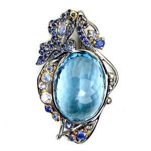 Handmade Natural Oval Sky Blue Topaz 30ct Sapphire 925 Sterling Silver Pendant
