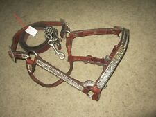 CUSTOM MARY'S TACK SILVER AND 18K GOLD SHOW HALTER AND LEAD