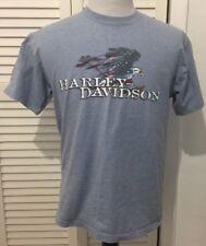Harley Davidson Short Sleeve T Shirt Eagle Flag Red White Blue Michigan Large