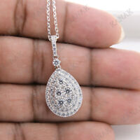 2.95 Ct Round Cut Diamond Halo Drop Pendant Necklace Solid 925 Sterling Silver