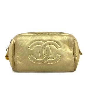 CHANEL CC Logo Gold Lambskin Mini Pochette Cosmetics Pouch /B0939