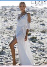 Lipsy Cold Shoulder White Maxi Dress Size 8 Petite