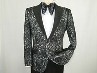 Men Insomnia Manzini Blazer Stage Performer Singer Prom MZN138 black Lace New