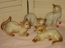 Set 4 Vintage 1960s LEFTON SIAMESE CAT Figurine Seal Point or Chocolate Pt China