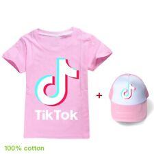 NEW Hot 2020 Girls Tik Tok Cotton Home Children T-Shirts+Hat Kids Gifts 2Pcs/set