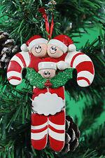 Personalizzata albero di Natale Decorazione Ornamentale CANDY CANE famiglia 3