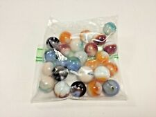 "Vintage, 25 Mixed, 5/8"" Swirly Agate Marbles, Loose in Bag"