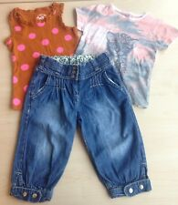 Girls Denim Cropped Jeans Sleeveless Pink Spot and Leopard Cub T Shirt Age 3 -4