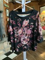Style & Co Collection Size 2X Top Blouse Black With Browns Rust Burgundy