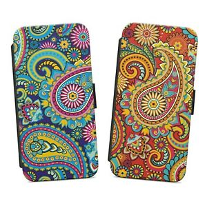 PAISLEY PATTERN PRINT WALLET FLIP PHONE CASE COVER FOR IPHONE SAMSUNG HUAWEI