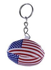 mini RUGBY BALL keychain keyring key chain ring leather flag USA AMERICA SHIRT