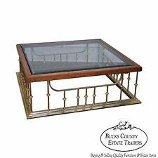 Quality Regency Square Brass Walnut Glass Top Fireplace Seat Coffee Table