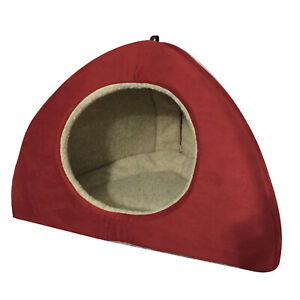 LARGE RED FAUX SUEDE DOG BED IGLOO **LUXURY DOG BED**