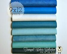 "TRANQUIL WATERS Felt Collection, Merino Wool Blend Felt, EIGHT 9"" X 12"" Sheets"