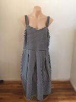 City Chic Blue & White Stripe Fit & Flare A Line Dress Pockets Plus Size M 18
