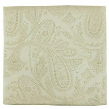 New men's polyester paisley ivory hankie pocket square formal wedding party