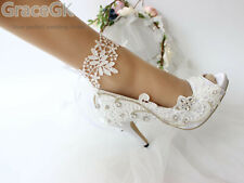 Satin Ivory White bride woman wedding shoes high heels peep