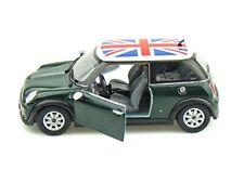 "Kinsmart Mini Cooper S 1:28 scale 5"" diecast model car w British Flag Green"