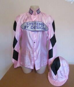 Race Worn Jockey Silks - Pink with Black Diamonds on the Sleeves and Cap