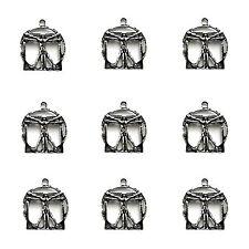 10 x Tibetan Silver 3d Vitruvian Man  Pendant Charms