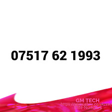 07517 62 1993 EASY MOBILE NUMBER PAY AS YOU GO SIM CARD UK GOLD PLATINUM VIP