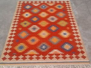 Hand Woven Red Wool Rug Turkish Kilim Dhurrie Afghan Oriental Area Rug 5X8 feet