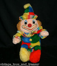"""16"""" VINTAGE CUDDLE WIT CIRCUS CLOWN STUFFED ANIMAL PLUSH TOY DOLL RED BLUE GREEN"""