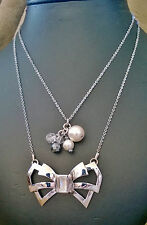 MIMCO Sterling Silver Double Layered Chain Necklace with Bow & Bead Charms